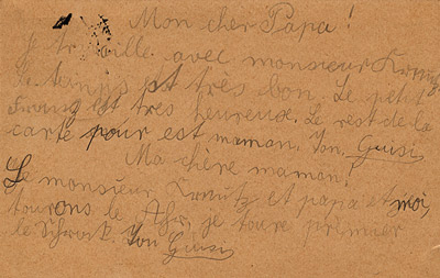 Card from Gisi to Parents - 1927.