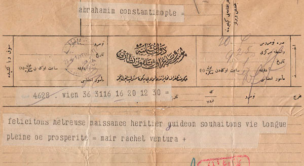 Telegram for Gisi Abraham's birth.