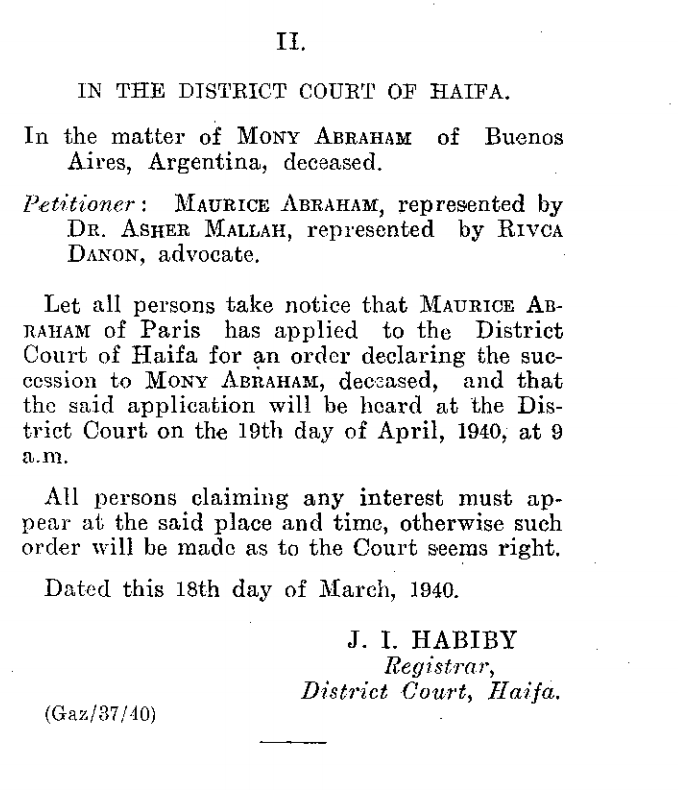 Haifa District Court Notice, 1940, re Mony Abraham succession.