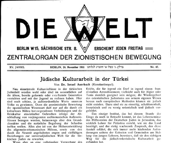 Die Welt article by Israel Auerbach, November 1911.